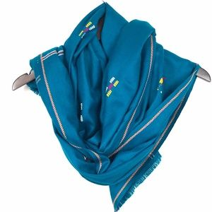 Accessories - Teal Blue Green Large Woven Scarf Wrap